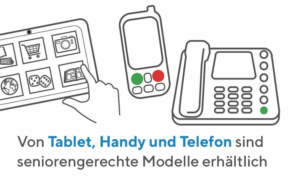 Von Tablet, Smartphone, Handy und Telefon sind seniorengerechte Modelle erhältlich