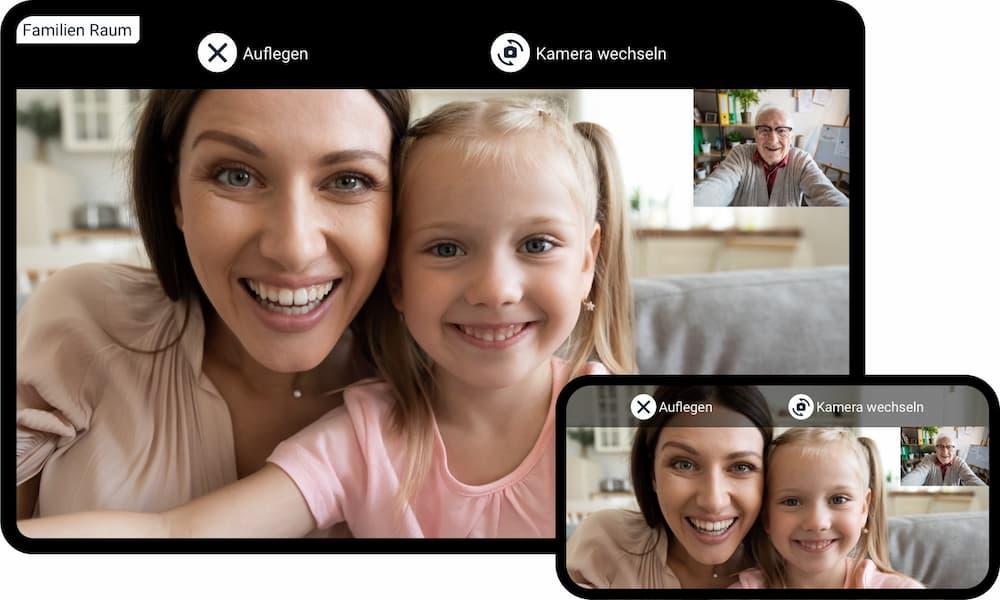 Enkel und Großeltern im Zoom-Metting mit der Lylu-App © Lylu GmbH